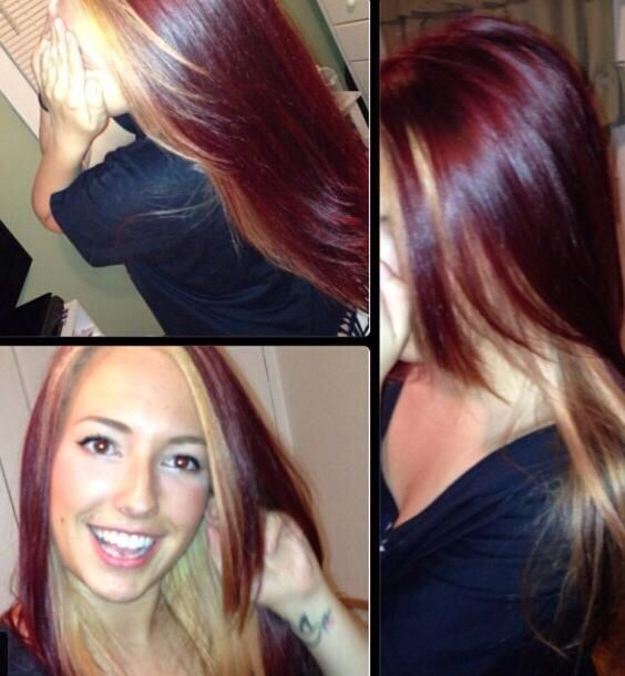 Red violet with blonde underneath | Hair by me Fifi ...