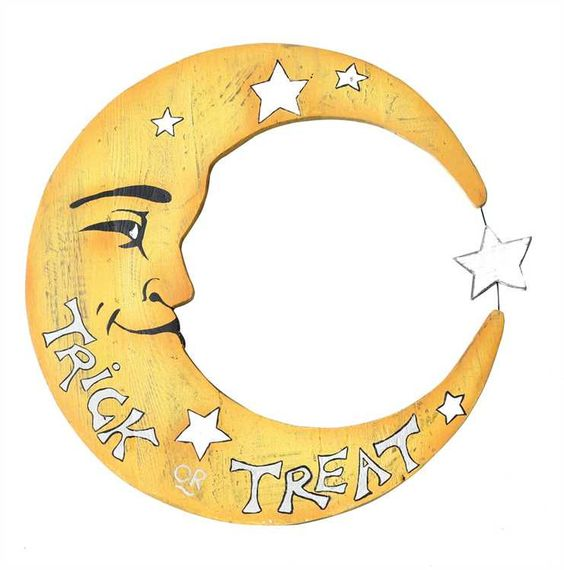 Trick or Treat Moon Sign | Painted Wood Halloween Decorations…