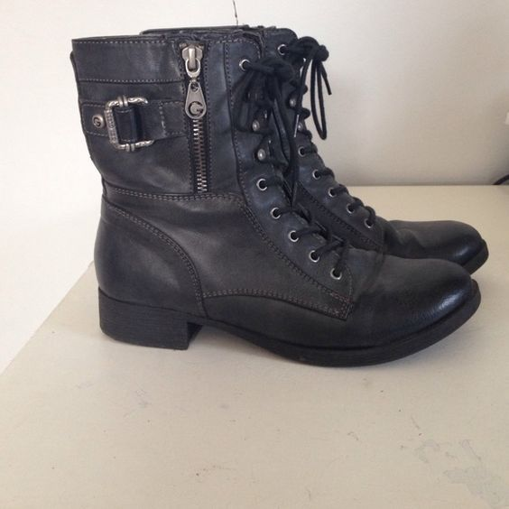 Combat boots Dark gray combat boots! Worn a few times, in great condition! Guess Shoes Combat & Moto Boots