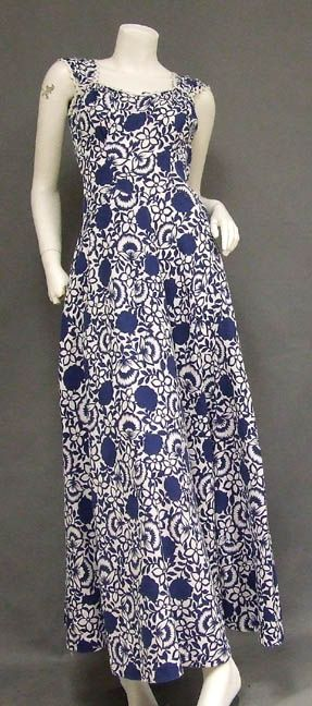 Blue  White Printed Pique 1940's Dress w/ Jacket