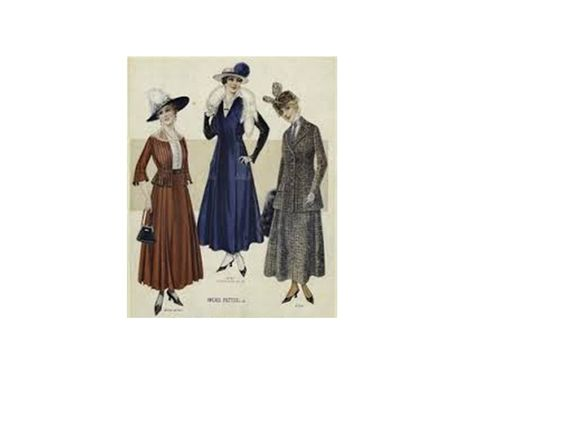 1914- Women's dresses featured hemlines above the ankle and an A-line silhouette which could display a high, medium, or dropped waistline. (Bailey G.)