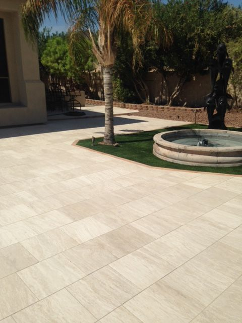 16x16 Classic Vein Cut Marble Limestone Pavers Installed In This Patio  Provide A Wonderful Compliment To The Adjacent Fountain.  Http://durangostoneu2026