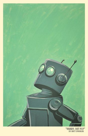 """I love this whimsical and retro robot print by Matt Spangler entitled, """"Ready, Set, Fly!"""""""