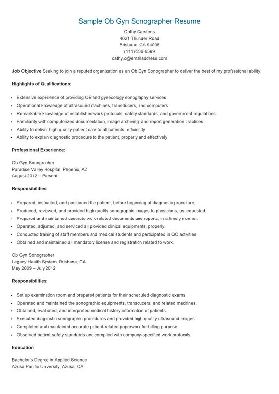 Sample Ob Gyn Sonographer Resume | Technician Resume Sample