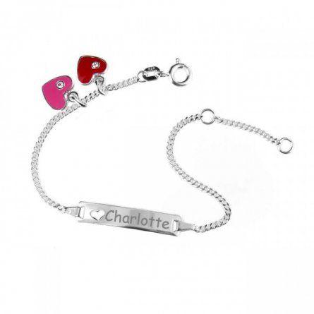 Baby Armband in Silber mit rotem und pinkem Herzanhaenger und Gravur #Geschenk #Geburt #Armband #Schmuck