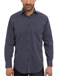 Thomas Dean - Long Sleeve Spread Collar Small Popling Print Shirt: Not only does it have a geometric pattern that pops against the deep navy ground, it has a really cool contrast plaid trim under the collar and cuffs.