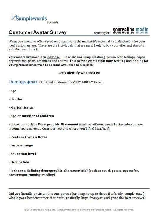 Customer Avatar Template Download Word Doc Avatar Ideal Customer Templates