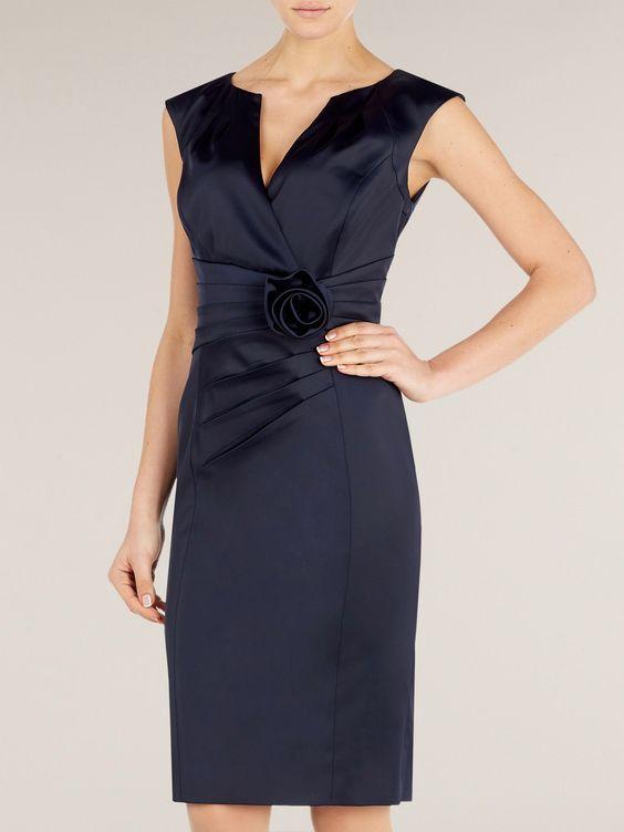 Alexon Navy Sateen Rosette Dress in Blue | Lyst
