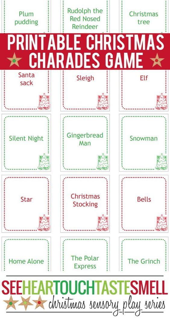 Christmas Charades Game  Printable Game Cards  Game Cards