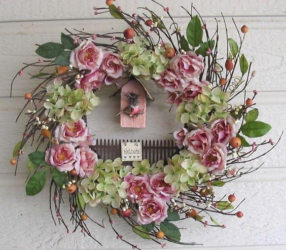 Shabby Chic Wispy Wreath Antique Pink