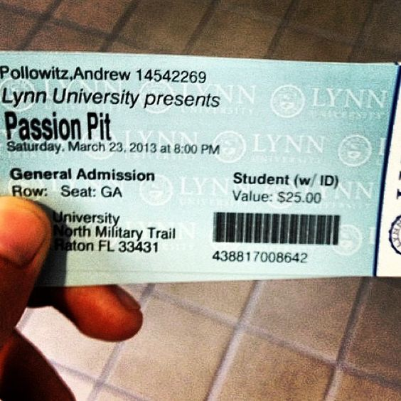 The #lynn50 #passionpit concert is only 4 days away! Hurry and buy it now! http://events.lynn.edu/passionpit