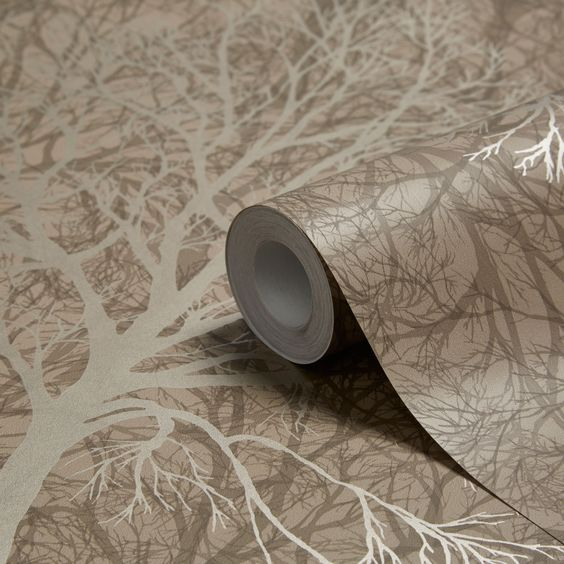 Enchant Golden Brown Trees Wallpaper | Departments | DIY at B&Q