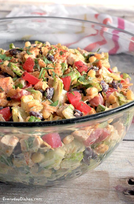 Serve an entrée salad heavy on all your favorite fixin's with this Tex-Mex chopped chicken salad recipe!