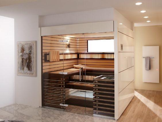 schöne moderne sauna fürs wellness-bad. mag die verkleidung aber
