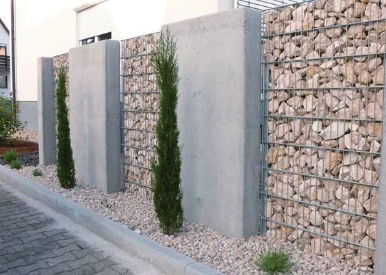 Gabionen und beton sichtschutz garten pinterest for Sichtschutz gabionen