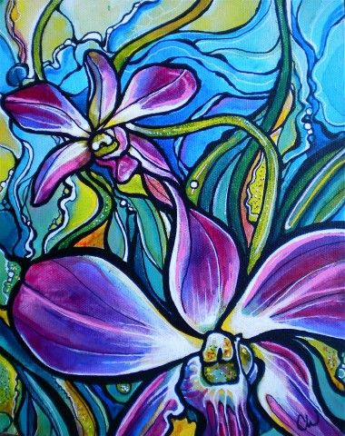 Purple Orchids - Colleen Wilcox  I love her paintings!!!!