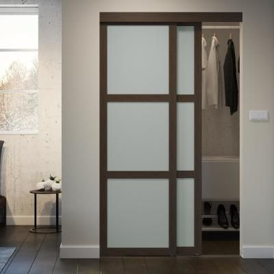 Colonial Elegance 48 In X 80 5 In 3 Lite Indoor Studio Mdf Wood Mocha Frame With Frosted Glass Interior In 2020 Modern Closet Doors Glass Closet Sliding Closet Doors