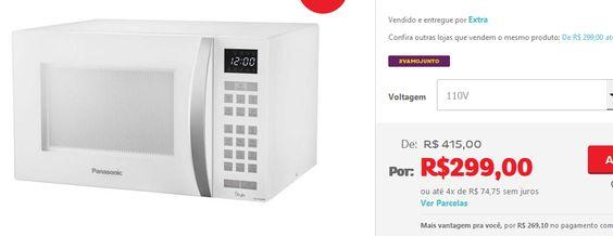 Micro-ondas Panasonic Style com Desodorizador e 8 Receitas Pré-Programadas NN-ST654 32 Litros << R$ 299 em 4 vezes >>