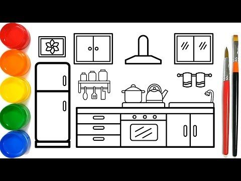 Glitter Kitchen Drawing And Coloring Pages For Kids Dapur Halaman Mewarnai Youtube Coloring Pages For Kids Coloring Pages Drawing For Kids