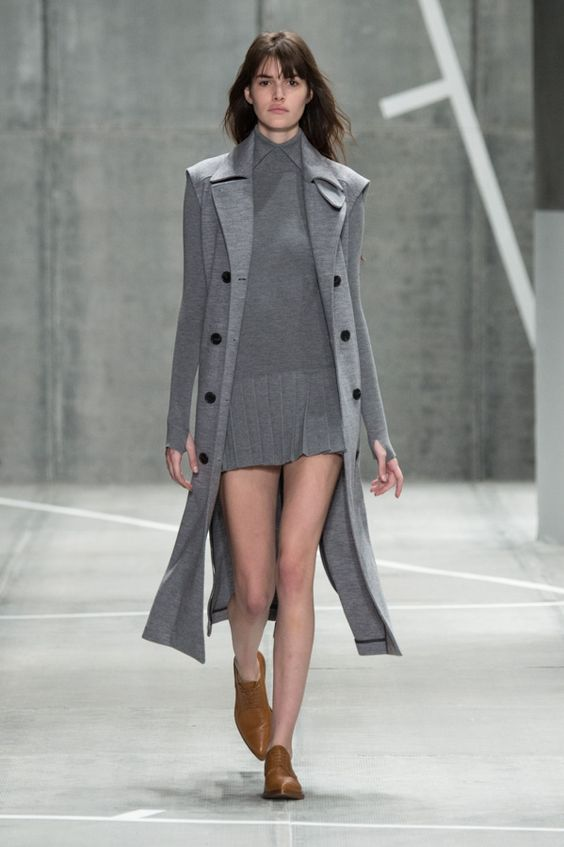 Beautiful grey dress with matching long trench coat from the