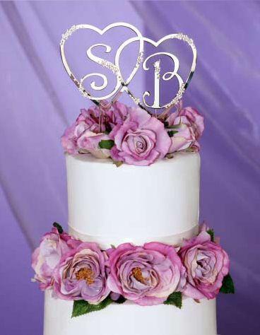 Swarovski Crystal Interlocking Heart Cake Topper