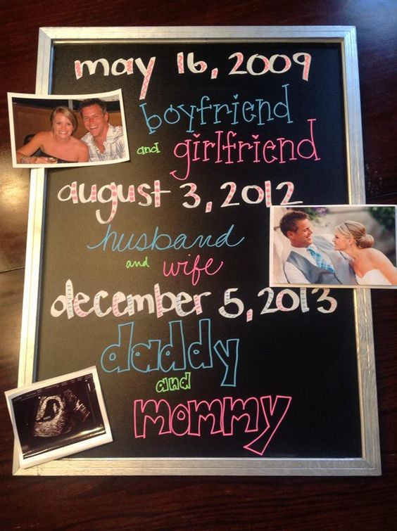 our chalkboard announcement of baby T arriving this winter <3