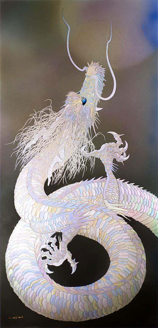 白銀の上り龍の壁紙
