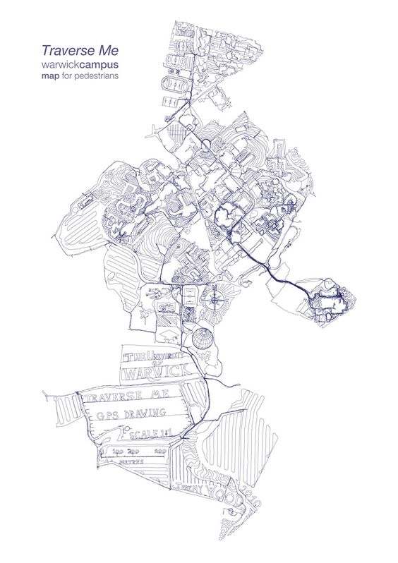 campus map drawn on foot at 1:1 scale with 238 miles of GPS tracks walked over 17 days. wtf.