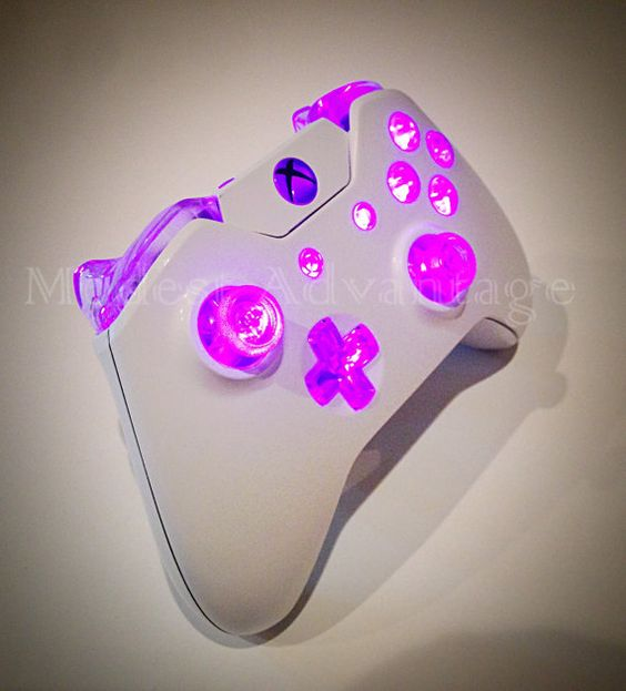 Xbox One Controller Pink Led Mod White Shell by abxymods on Etsy