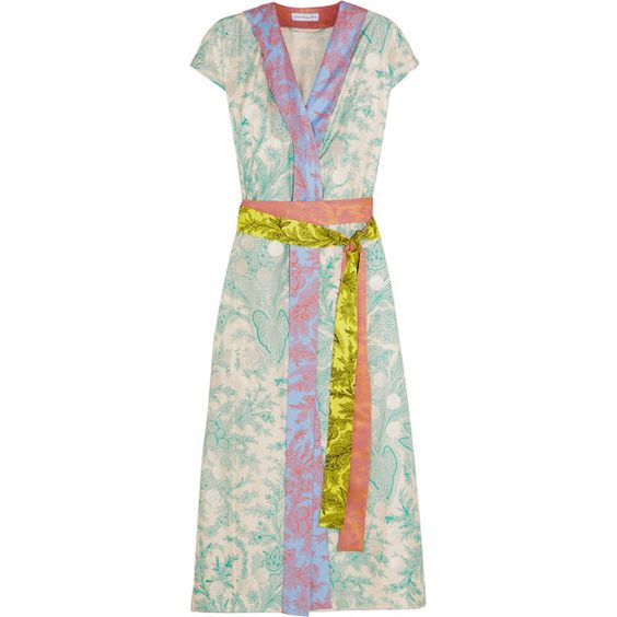 Jonathan Saunders Claudia embroidered printed silk-twill wrap dress (33.890 ARS) ❤ liked on Polyvore featuring dresses, green, tie dress, embroidered kimono, green kimono, multi-color dress and kimono dress