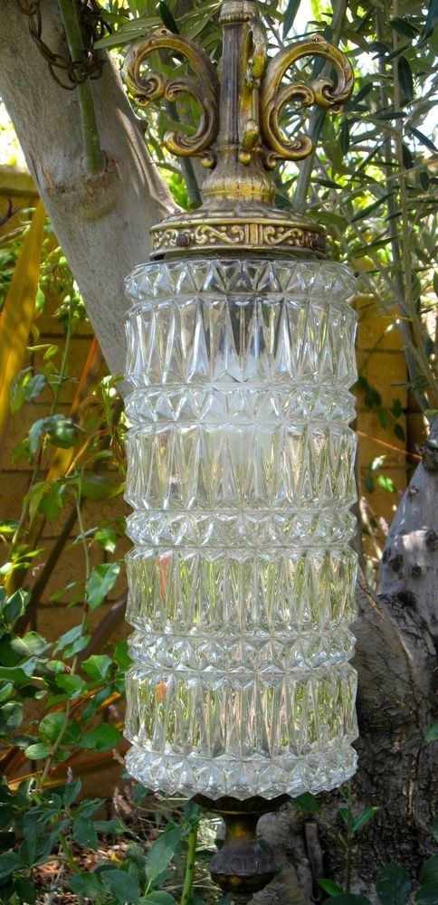 Crystal Swag Light Fixture~Diamond Cut Glass/Brass~Old Hollywood Style~VTG