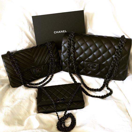 "Chanel Chevron ""So Black"" in med/large flap bag $4900"