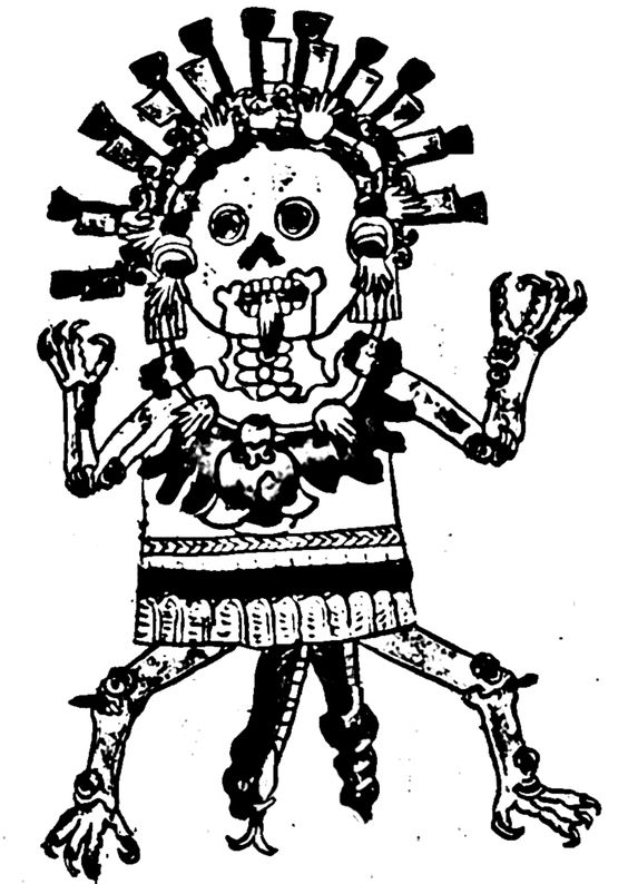 In Aztec mythology, Tzitzimime were demons-gods that lived in the darkness of the sky vault. These deities were commonly depicted as skeletal female figures we