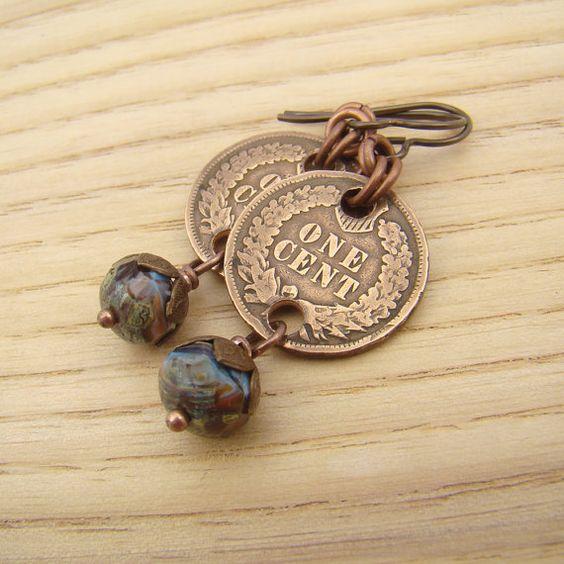 Boucles indiennes à tête de penny, pièces facettes perles multicolor bleu, cuivre,