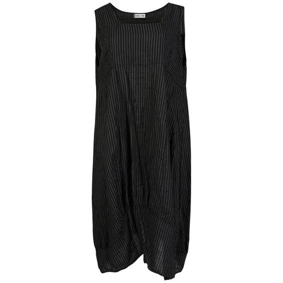 KARMA Ladies Womens Lagenlook Boho Sleeveless Thin Striped Wide Flared Maxi Midi Dress Italian Linen Cotton One Size Plus (One Size (UK 14-24), Black)
