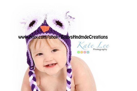 Adorable Wide Awake Owl Hat with Earflaps by BugysHndmdeCreations, $25.00