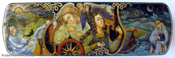 """Maidens Of Destiny"" - box, Palekh lacquer painting technique. Materials: papier-mâché, egg tempera, gold leaf, lacquer  Artists: Chibisova Veronika and Chibisov Roman. $1755.00 http://www.russianfineart.co/catalog/prod.php?productid=20226"