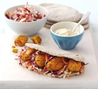 Sweet potato falafels with coleslaw