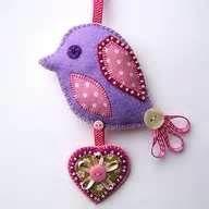 felt bird ornament - pretty!