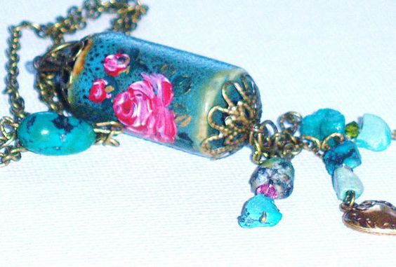 Boho Chic Turquoise Tassel Necklace Hand Painted Pink Rose Pendant goddessartcollection on etsy