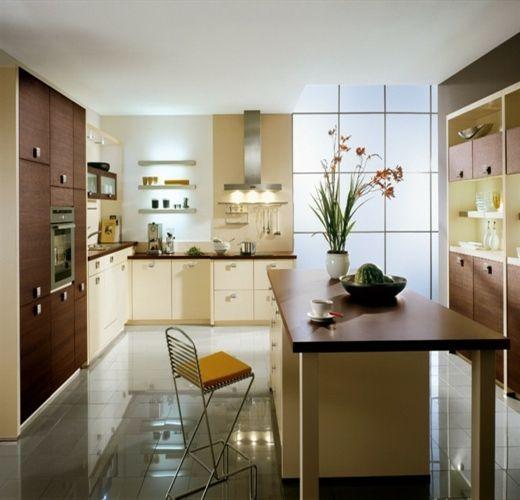 L-förmige küchenzeile in beige
