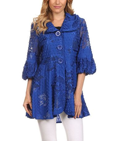 Love this Blue Lace Pleated A-Line Jacket on #zulily! #zulilyfinds