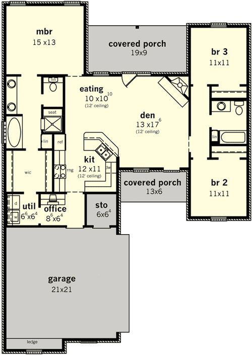 Plan 83099dc split bedroom home for narrow lot Split bedroom house plans