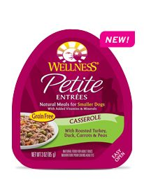 Wellness Natural Pet Food Petite Entrées Casserole with Roasted Turkey, Duck, Carrots & Peas--  Petite Entrées gourmet natural wet dog food was created just for Small Breed dogs. Learn more: http://weln.es/1jgwWAe