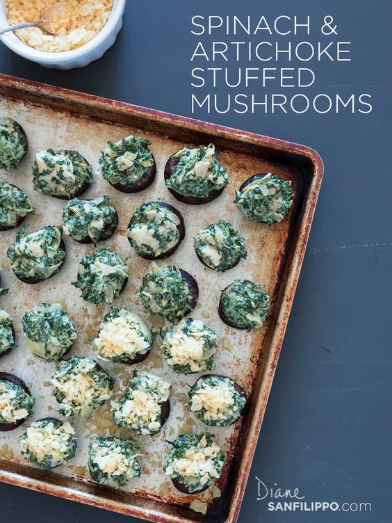 Paleo Stuffed Mushrooms: Spinach & Artichoke #balancedbites #21DSD #appetizers