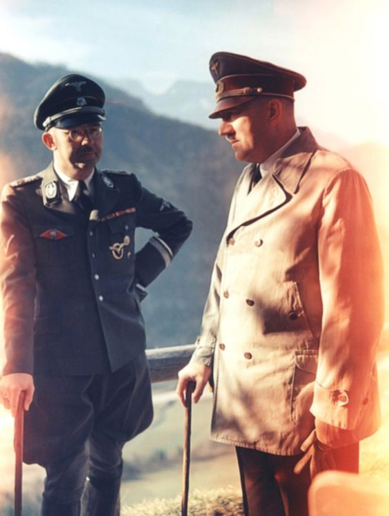 "Color photo of Hitler and Himmler in the Obersalzberg - A good example of ""La banalità del male"" of Annah Arendt."