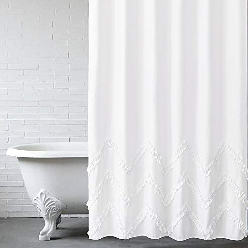 felisa white ruffle shower curtain with