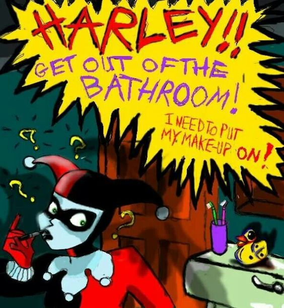 harley!! get out of the bathroom! i need to put my make-up on