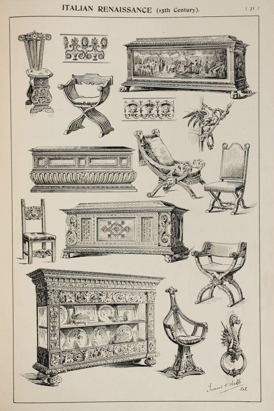 Italian Renaissance Furniture Designs Large Antique Black White Print Interior Design Arts