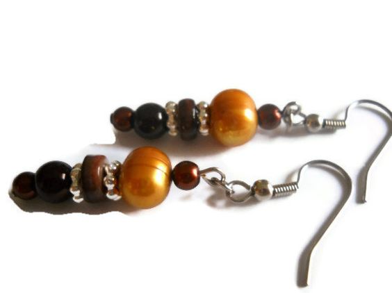 Autumn Toned Earrings Pearl Earrings Chocolate by chicagolandia, $18.00